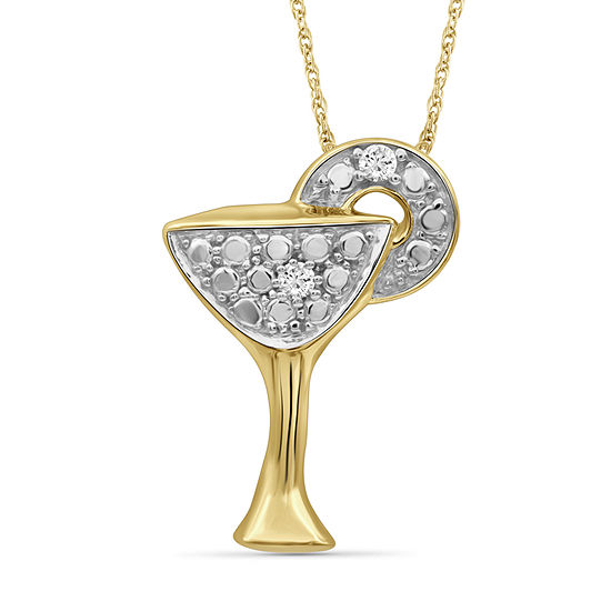 Womens Diamond Accent Genuine White Diamond Pendant Necklace