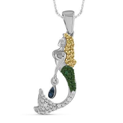 Womens Diamond Accent Genuine Multi Color Diamond Sterling Silver Pendant Necklace