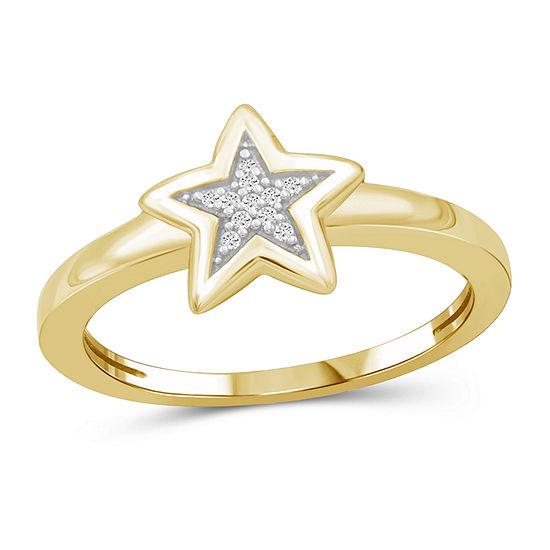 Womens Diamond Accent Genuine White Diamond 14K Gold Over Silver Cluster Band
