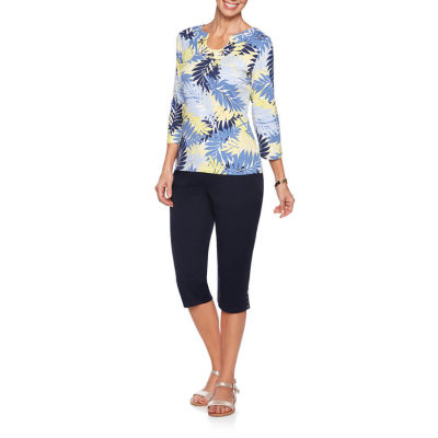 Hearts Of Palm Seas The Day-Womens Split Crew Neck 3/4 Sleeve T-Shirt