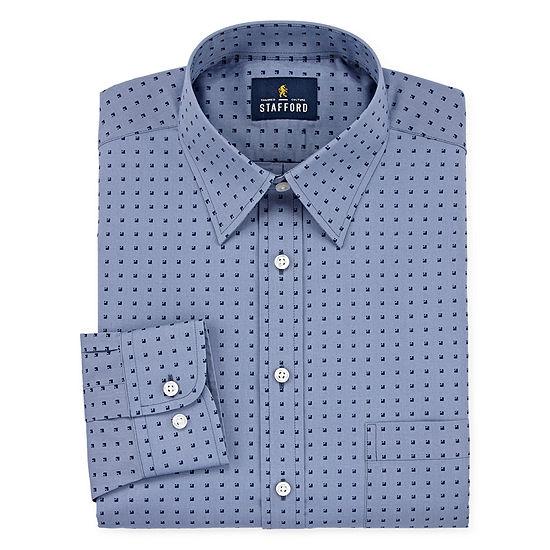 Stafford Travel Stretch Performance Super Shirt Mens Point Collar Long Sleeve Wrinkle Free Dress Shirt