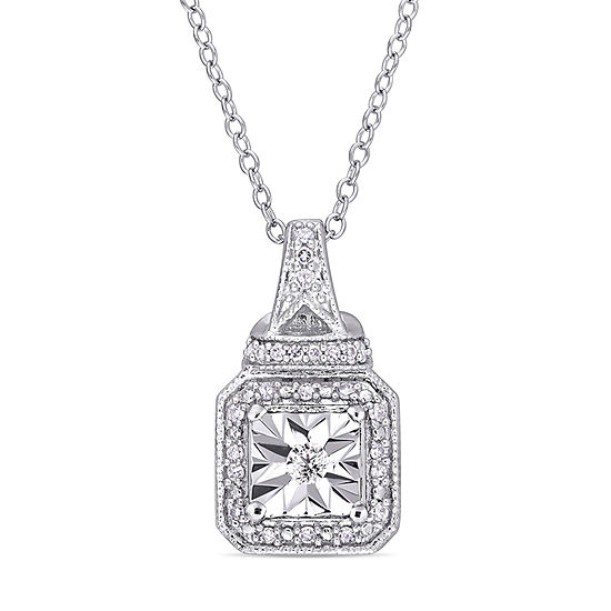 Womens 1/7 CT. T.W. Genuine White Diamond Sterling Silver Pendant Necklace