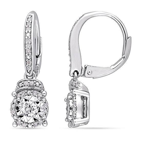 1 3 Ct Tw Genuine White Diamond Sterling Silver Drop Earrings