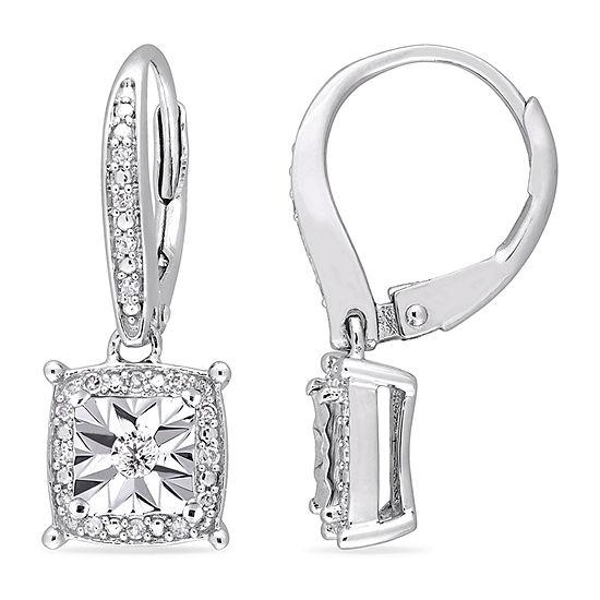 1/5 CT. T.W. Genuine White Diamond Sterling Silver Drop Earrings