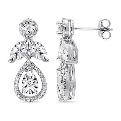 1/4 CT. T.W. Genuine White Diamond Sterling Silver 23mm Stud Earrings