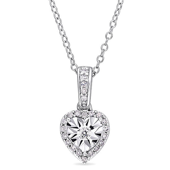 Womens 1/6 CT. T.W. Genuine White Diamond Sterling Silver Heart Pendant Necklace