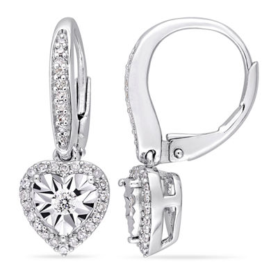 1/3 CT. T.W. Genuine White Diamond Sterling Silver Heart Drop Earrings