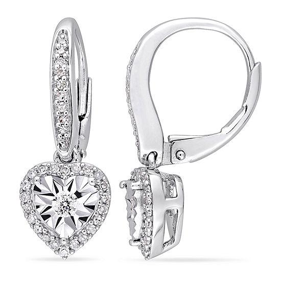 1/3 CT. T.W. Genuine White Diamond Sterling Silver Heart Drop Earrings