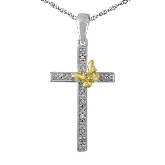 Womens Diamond Accent Genuine White Diamond 10K Gold Over Silver Sterling Silver Cross Pendant Necklace
