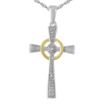 Womens Diamond Accent Genuine White Diamond 10K Gold Over Silver Sterling Silver Cross Pendant Necklace