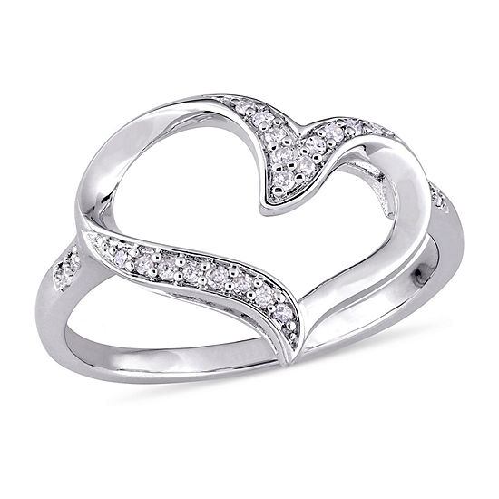 Womens 1/10 CT. T.W. Genuine White Diamond Sterling Silver Heart Band