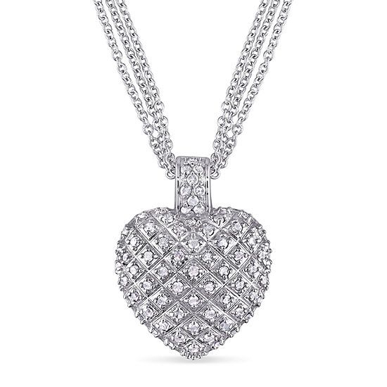 Womens 1 CT. T.W. Genuine White Diamond Sterling Silver Heart Pendant Necklace