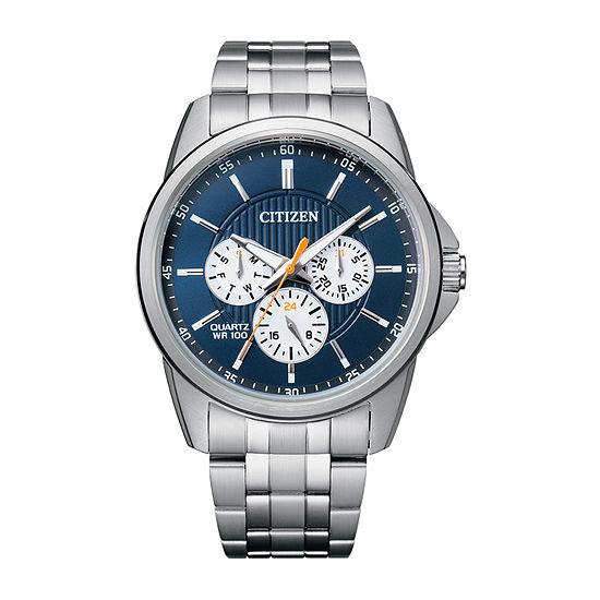 Citizen Quartz Mens Silver Tone Stainless Steel Bracelet Watch-Ag8340-58l