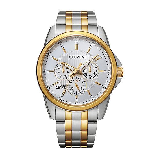 Citizen Quartz Mens Two Tone Stainless Steel Bracelet Watch-Ag8344-57b