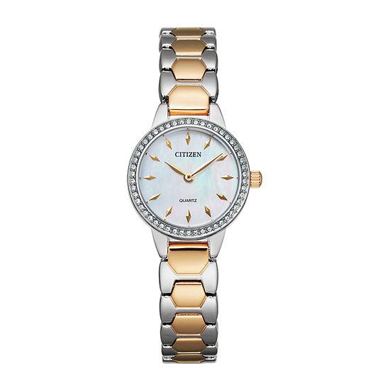 Citizen Quartz Womens Two Tone Stainless Steel Bracelet Watch-Ez7016-50d