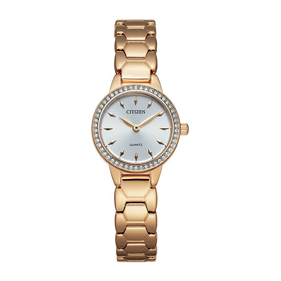 Citizen Quartz Womens Rose Goldtone Stainless Steel Bracelet Watch-Ez7013-58a