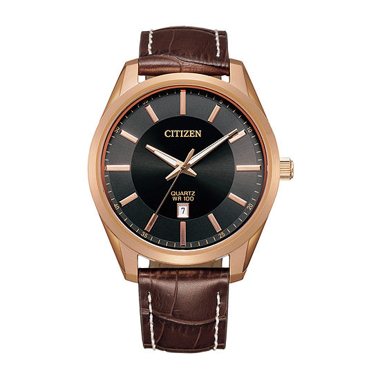 Citizen Quartz Mens Brown Leather Strap Watch-Bi1033-04e