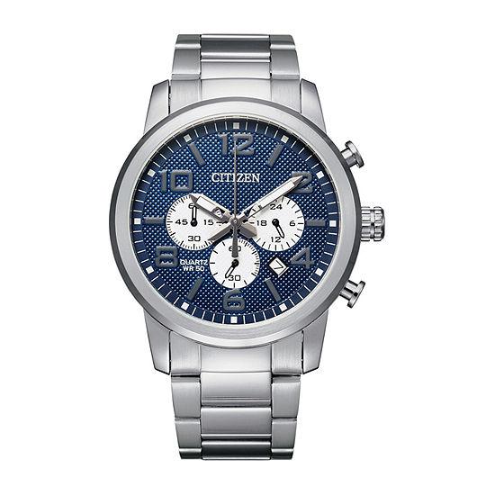 Citizen Quartz Mens Chronograph Silver Tone Stainless Steel Bracelet Watch-An8050-51m