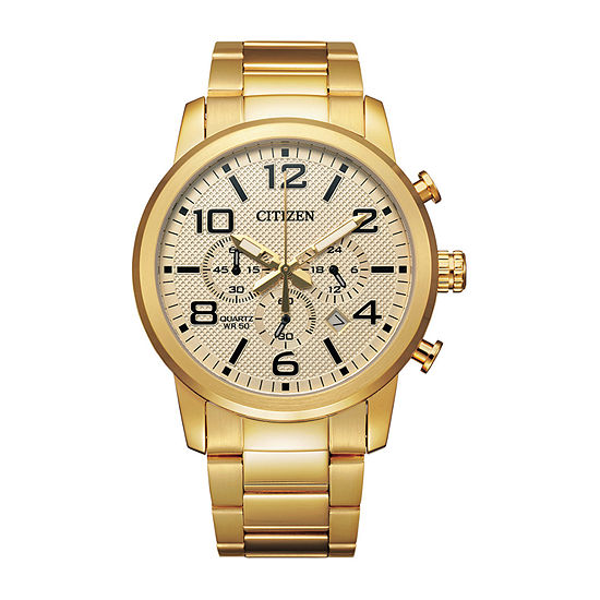 Citizen Quartz Mens Chronograph Gold Tone Stainless Steel Bracelet Watch-An8052-55p