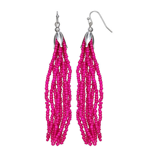 Mixit Pink Seedbead Drop Earrings