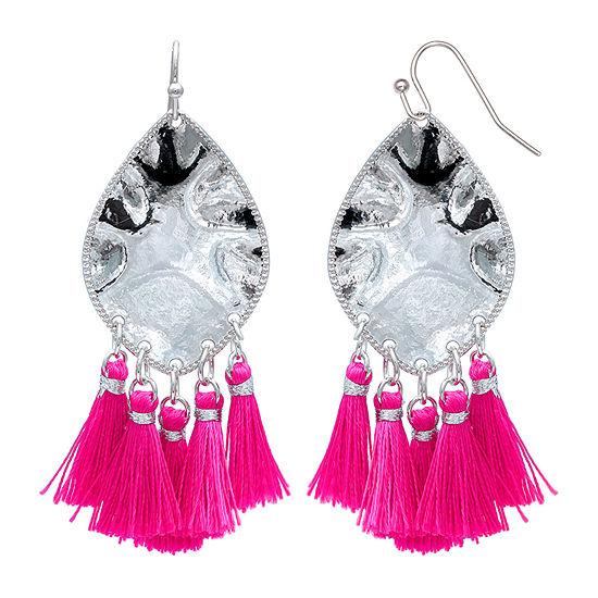 Mixit Pink Fringe Drop Earrings