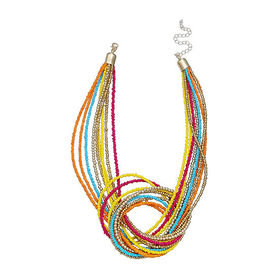 Mixit Multi Color Seedbead 17 Inch Beaded Necklace