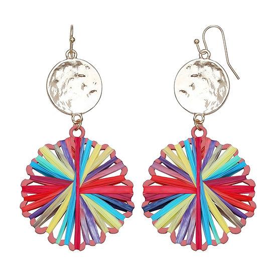 Mixit Multi Color Raffia Drop Earrings
