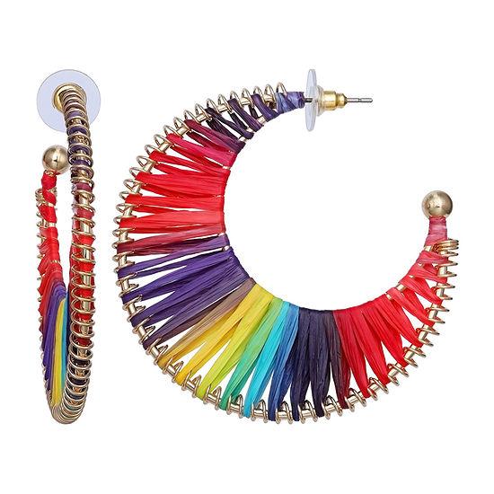 Mixit Multi Color Raffia Hoop Earrings