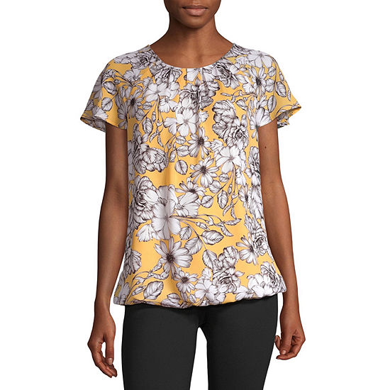 Liz Claiborne Flutter Sleeve Bubble Top - Tall
