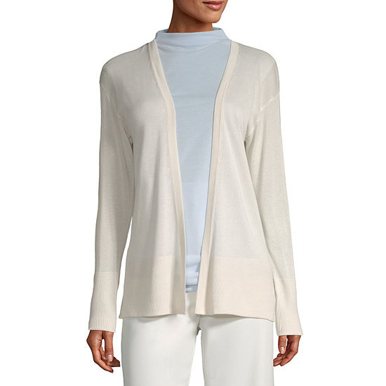 Worthington Womens Clean Front Cardigan - Tall