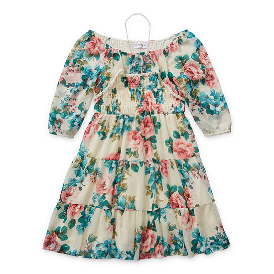 Knit Works Little & Big Girls 3/4 Sleeve Puffed Sleeve Peasant Dress