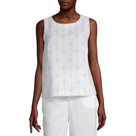 Liz Claiborne Womens Crew Neck Sleeveless Tank Top, X-small , White