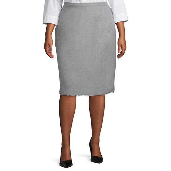 Alfred Dunner Primrose Garden Womens Pencil Skirt-Plus
