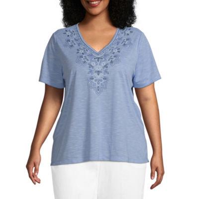 Alfred Dunner Plus Petal Pushers-Womens V Neck Short Sleeve T-Shirt
