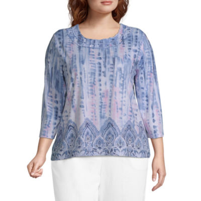Alfred Dunner Plus Petal Pushers-Womens Round Neck 3/4 Sleeve T-Shirt