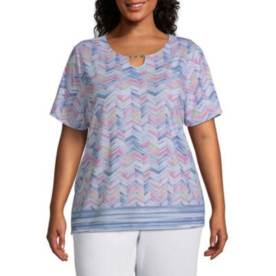Alfred Dunner Plus Petal Pushers-Womens U Neck Short Sleeve T-Shirt