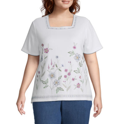 Alfred Dunner Plus Petal Pushers-Womens Square Neck Short Sleeve T-Shirt