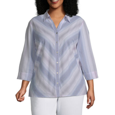 Alfred Dunner-Plus Petal Pushers Womens 3/4 Sleeve Classic Fit Button-Front Shirt