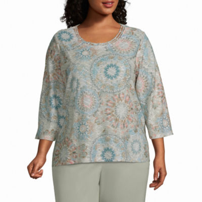 Alfred Dunner Plus Chesapeake Bay-Womens Round Neck 3/4 Sleeve T-Shirt