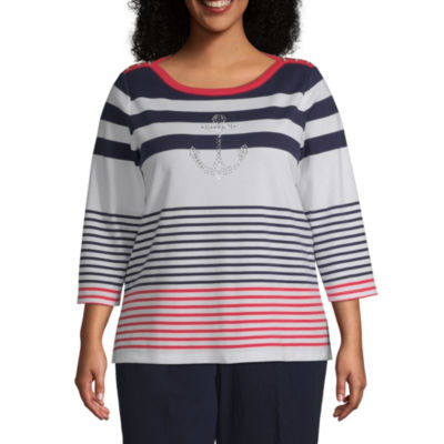 Alfred Dunner Plus Ship Shape-Womens Boat Neck 3/4 Sleeve T-Shirt