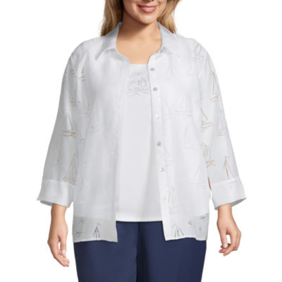 Alfred Dunner-Plus Ship Shape Womens 3/4 Sleeve Classic Fit Button-Front Shirt