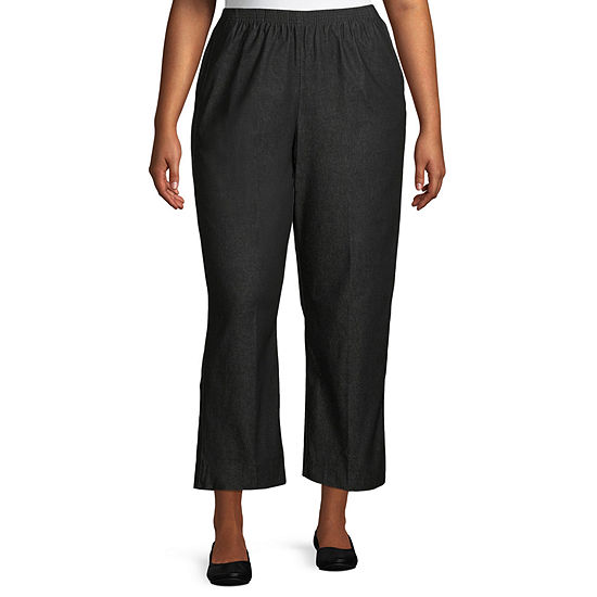 Alfred Dunner Classics Womens High Rise Straight Flat Front Pant