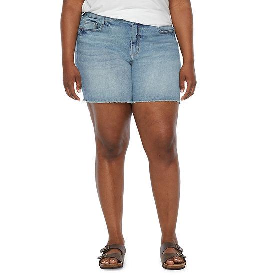 a.n.a-Plus Womens High Rise Denim Short