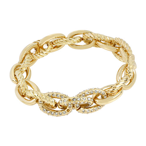 Worthington® Gold-Tone Stretch Link Crystal Bracelet