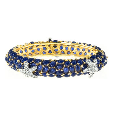 KJL by KENNETH JAY LANE Blue Stone & Crystal Starfish Bangle Bracelet