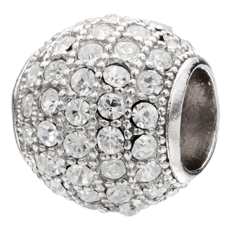 "Forever Moments"" Pav Clear Crystal Charm Bracelet Spacer Bead"