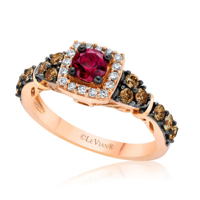 Grand Sample Sale™ by Le Vian® Raspberry Rhodolite® & 5/8 CT. T.W. Vanilla Diamonds® and Chocolate Diamonds® in 14K Strawberry Gold® Ring