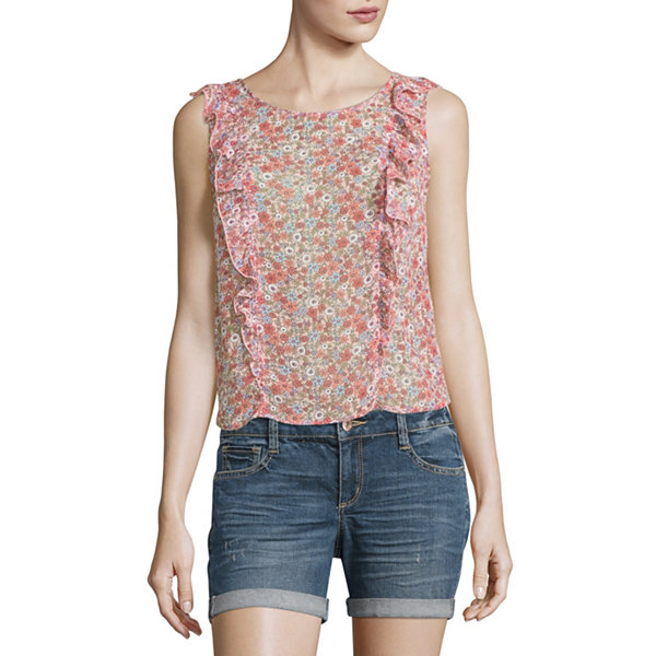 Arizona Sheer Floral Ruffle Top- Juniors