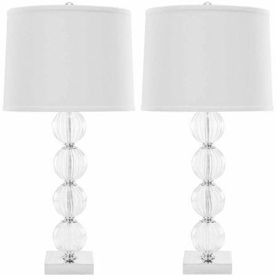 Safavieh Amanda White Crystal Glass Globe Lamp
