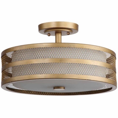 Safavieh Greta 3 Light Antique Gold Veil Semi Flush